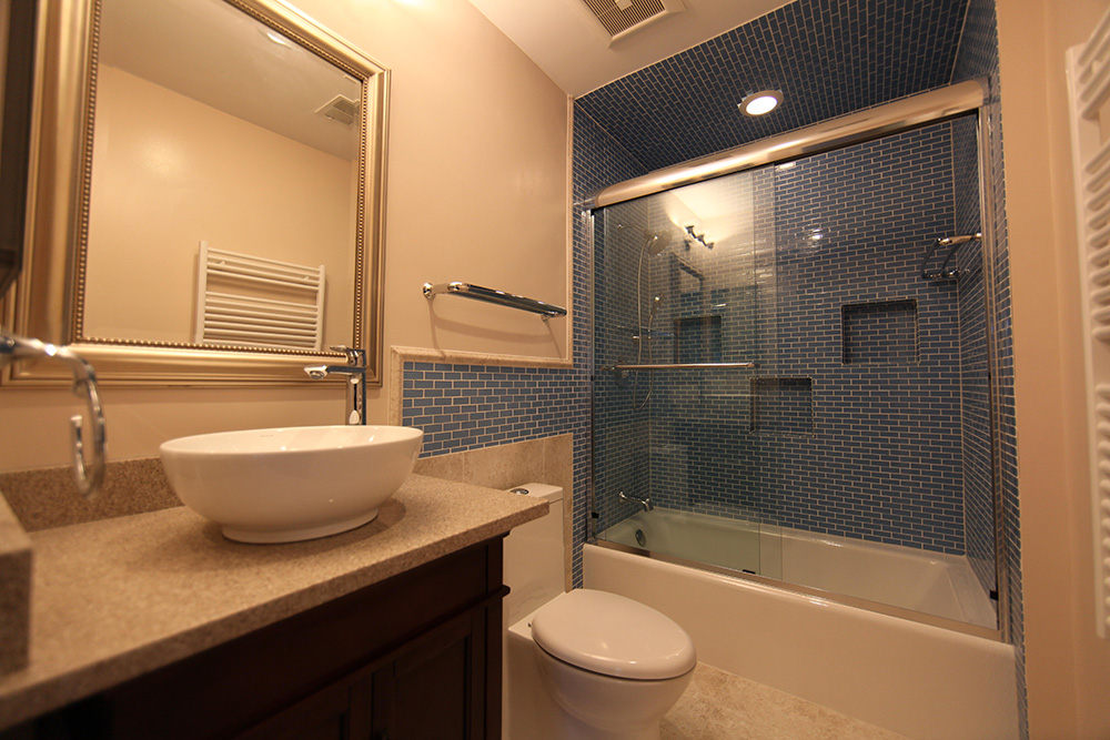 Basement remodeling services germantown rockville md dc - Small bathroom remodel with tub ...